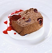 Frozen chocolate mousse with sour cherries