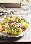 Summer salad with turkey rolls