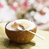 Crème brulee in a coconut