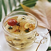 Oolong tea with chrysanthemum petals and hawthorn