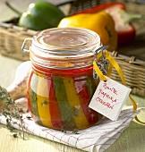 Bottled mixed pepper strips