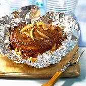 Beef roasted in aluminium foil