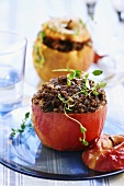 Baked apple with black pudding stuffing