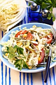 Chinese cabbage salad with sweetcorn and tomato