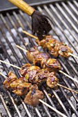 Pork kebabs on the barbecue