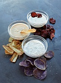 Vegetable crisps with three dips