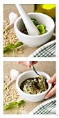 Chopping pesto ingredients in mortar and mixing