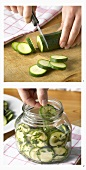 Pickling courgettes