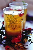 Ginger tea with thyme and red berries