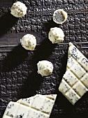 Chocolate truffles and white chocolate with black sesame