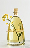 A bottle of rape seed oil with rape flower
