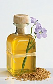 Linseed oil with linseed and flax flower