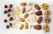 Assorted nuts on white background