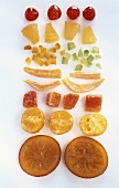 An assortment of candied fruits