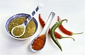Thai chili sauce and sweet chili sauce