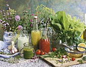 Still life with salad dressings & ingredients