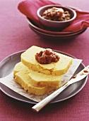 Polenta bread with tomato relish
