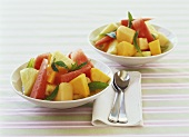 Fruit salad with mint syrup