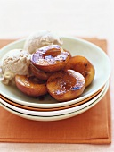 Baked peaches with ginger ice cream