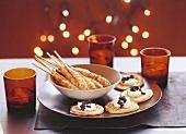 Skewered prawns & blinis with crème fraiche & caviar