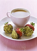 Strawberries dipped in chocolate & chopped pistachios