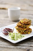 Crab and sweetcorn cakes with chili