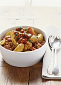 Pan-cooked potato dish with chorizo & peppers