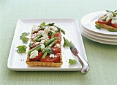 Tomato and asparagus tart with goat's cheese