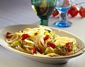 Bucatini with courgettes and tomatoes