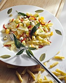 Garganelli with cheese and vegetables