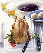 Bavarian duck with potato dumplings and red cabbage
