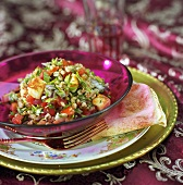 Tabbouleh (bulgur wheat salad) with Halloumi