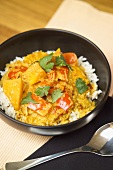 Pumpkin and peppers on rice