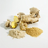 Fresh ginger root and ground ginger