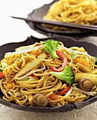 Bami goreng (fried noodles with vegetables, Indonesia)