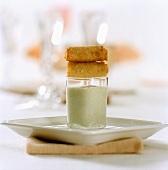 Chocolate samosa with mint dip