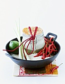 Thai coconut soup with ingredients to give as a gift