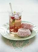 Raspberry mint tea with jelly cakes