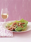 Romaine lettuce with shrimps and croutons