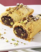 Chocolate roll with pistachios