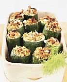 Courgettes stuffed with fennel and rice