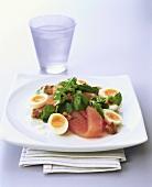 Smoked salmon with quail's egg salad