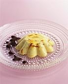White chocolate pudding with saffron & cardamom