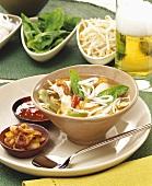 Colourful rice noodle soup