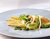 Asparagus salad with trout and ramsons & almond pesto