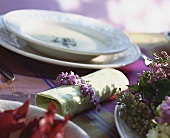 Lilac napkin ring and asparagus soup