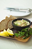 Smoked fish and cucumber paste with bread