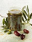 Olive and pistachio pesto
