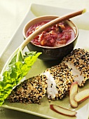 Chicken breast with sesame crust and rhubarb chutney