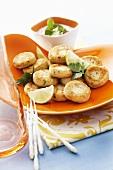 Potato cakes with yoghurt and coriander dip